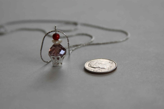 Silver Cupcake necklace with vintage pearl and purple crystal Girls Night Out