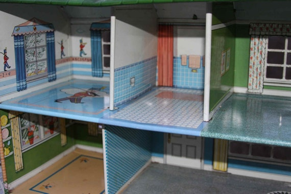 Sale Marx Lithographed Metal Dollhouse 1950s 5 Rooms