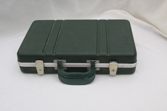 SALE Luggage Green Vintage Spy Suitcase in Hard Plastic with Double Handles