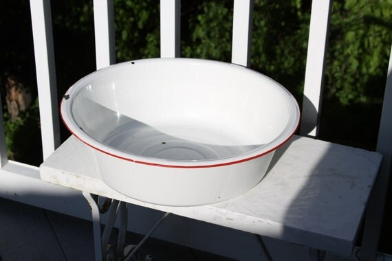 Big Old Enamel Wash Basin Wash Tub Vintage White By