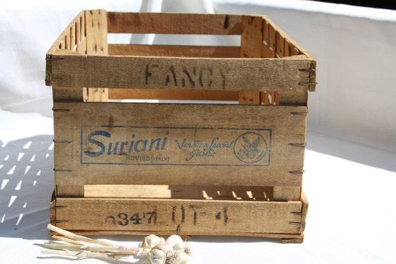 Italian Garlic Crate Woven Wood Basket Suriani Venetian Rovigo Italy