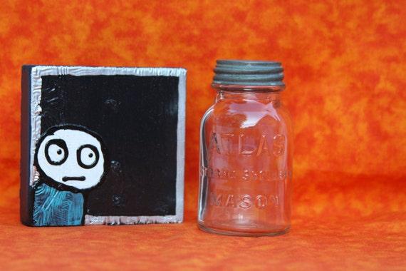 Rare Tiny Atlas Strong Shoulder Mason Canning Jar Bank Retro