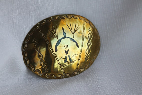 Large Gold Metal Belt Buckle Turquoise Inlay Native American Design