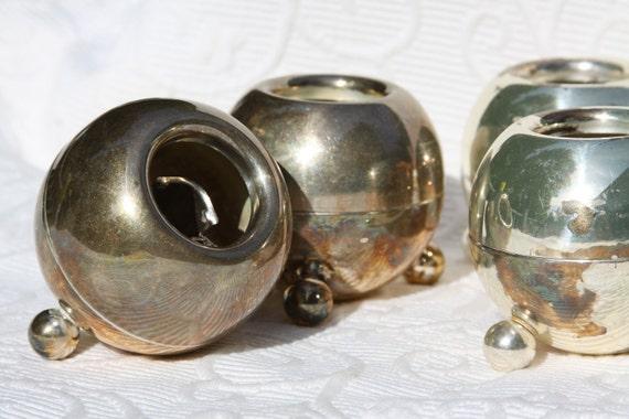 Pair Mid Century Danish Modern Pilcher Candle Holders Metal Tripod Ball