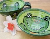 Pottery Earthenware Clay Cup  Green Frog  Soup Mug  Handmade / Clay Lick Creek Pottery-2