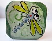 Handmade Majolica Ceramic Pottery Earthenware Clay Tile Wall Hanging Blue Dragonfly on Green