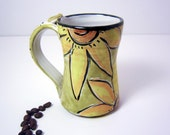 Ceramic Handmade Pottery Mug Clay Cup Yellow Sunflower on Olive Green 12 ounces -1 / Clay Lick Creek Pottery