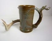 Handmade Stoneware Pottery Clay Mug Stein Tankard Brown 16 ounces with Deer Antler Handle Clay Lick Creek Pottery