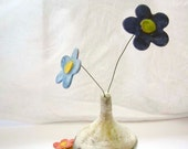 Ceramic Clay Pottery Flower Two on Wire Garden Home Decor White Green Blue Red Yellow Orange Purple - 2