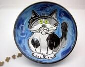Handmade Ceramic Tuxedo Cat Clay Pottery Majolica Feeding Dish Bowl Black White on Blue Clay Lick Creek Pottery