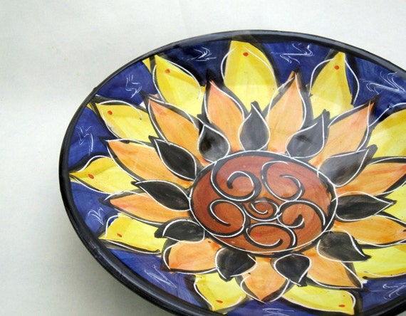 Summer Sunflower against a Cobalt Sky Plate / Hand Thrown Pottery Clay
