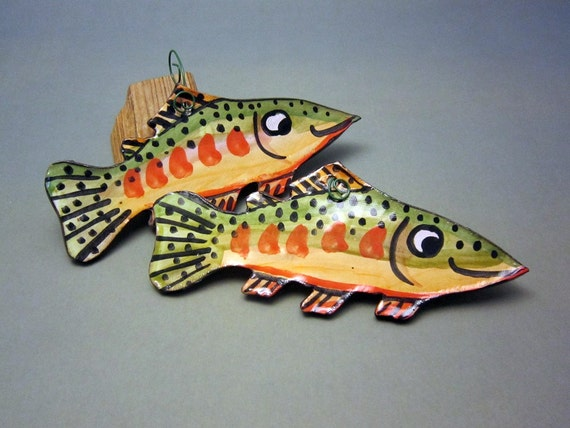 Pair of  Cutthroat Trout / Clay Wall Hangings