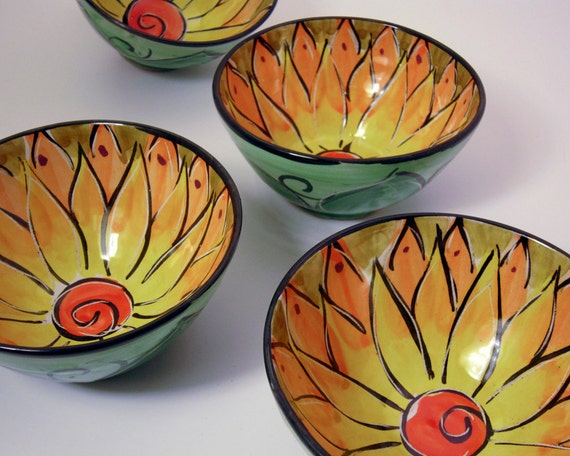 Ceramic Serving Bowls Majolica Pottery Bowl Set of Four Earthenware Clay Orange Yellow Lotus Flower / Clay Lick Creek Pottery