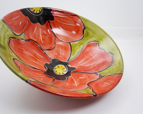 Ceramic Handmade Majolica Pottery Clay Red Poppy Flower on Olive Green Shallow Bowl