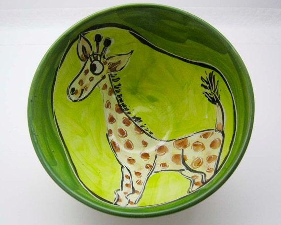Giraffe Bowl Pottery Yellow Majolica Handmade Clay on Lime Green Earthenware Dish