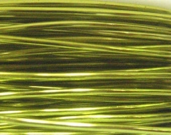 10 ft -- 24 gauge NonTarnish Peridot Enameled Copper Wire