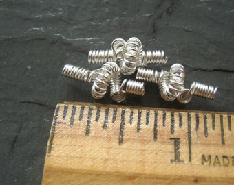Hand Coiled Beads  Non Tarnish Silver Quantity 3
