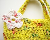Plarn Tote- Yellow and Mini with White Flower