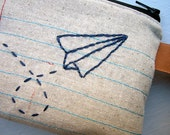 Zipper Pouch- Paper Airplane- Hand Embroidered and Machine Stitched