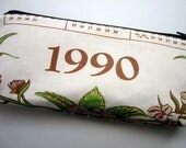 1990- Zipper Pouch Pencil Case- Calendar Tea Towel