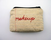 Zipper Pouch- Makeup- Repurposed Denim Jeans- Hand Embroidered