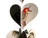 Birds Heart Garland - Paper Decoration - Vintage Field Guide to Birds - Handmade Party Supplies - Classroom Decoration - Mom Dad Grad Gifts