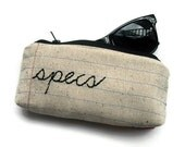 specs- Zipper Pouch Eyeglass Case- Notebook Paper Fabric- Machine Stitched and Hand Embroidered