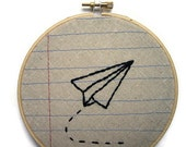 Paper Airplane- Five Inch Embroidery Hoop Wall Art- Machine Stitched and Hand Embroidered