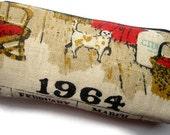 1964- Zipper Pouch Pencil Case-  Vintage Calendar Tea Towel- Vintage Cotton Lining