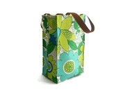 Lunch Bag- Repurposed Vintage Tablecloth- Green and Blue Floral Pattern