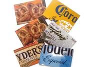 Gift Card Holders - Beer and Pretzels - Repurposed Cardboard Packaging - Set of 6