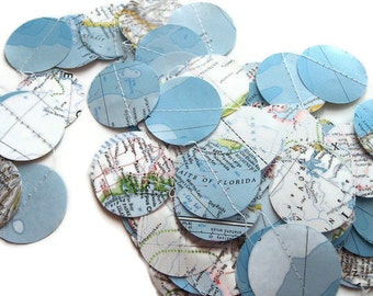 Handmade Party Supplies - 10 National Geographic Atlas Round Garlands - Over 5 Yards Long Each - Going Away Party Decorations