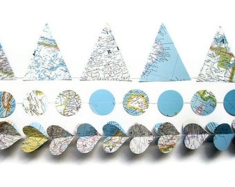 Handmade Party Supplies - World Map Garland Assortment - Classroom Decorations - Atlas Banners - Earth Day Decorations