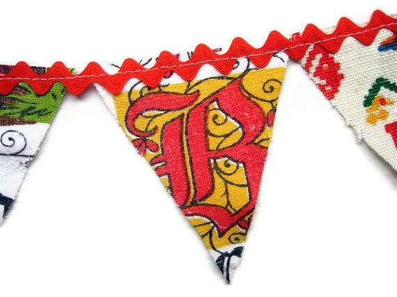 SALE- Totally Vintage Mini Banner- Tea Towels and Ric Rac- Bless This House
