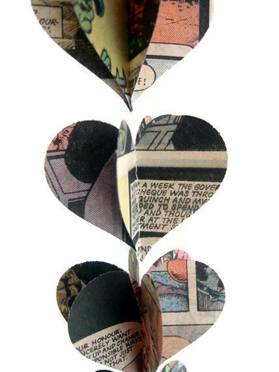 Comics - Heart Garland Decoration - Comic Book Pages - Triple Decker - Super Fun Gift or Favor