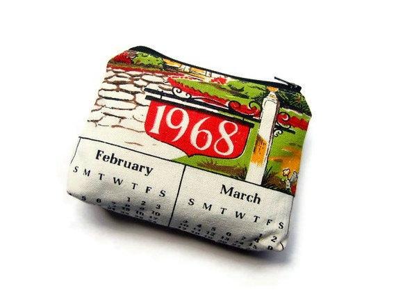 1968- Zipper Pouch- Vintage Calendar Tea Towel