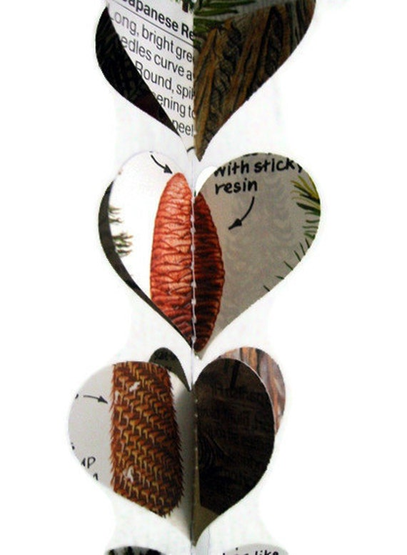Trees - Heart Garland Paper Decoration - Repurposed Vintage Field Guide to Trees - Fun Earth Day Decorations - Handmade and Unique