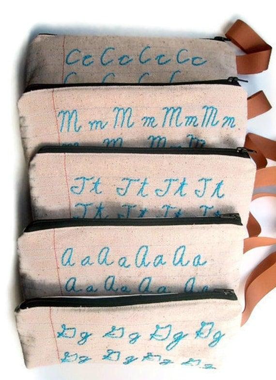 Monogram Custom Zipper Pouch Pencil Case - Cursive Letter Sampler - Personalized for You - Notebook Paper Fabric - Makeup Case - Spoonflower