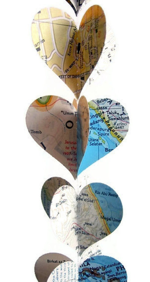 Handmade Party Supplies - 10 Map Heart Garlands - Going Away Party Decor - Travel Themed Decor - Wedding Decorations