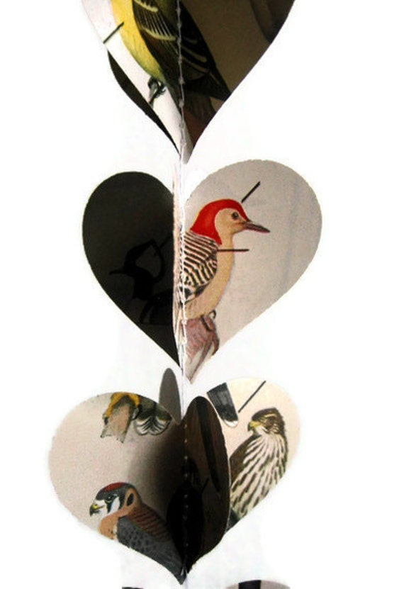Birds Heart Garland - Paper Decoration - Vintage Field Guide to Birds - Handmade Party Supplies - Classroom Decoration - Spring or Summer