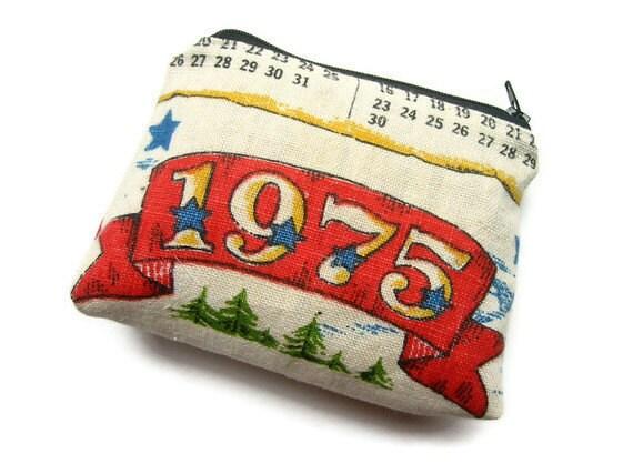 1975- Zipper Pouch- Calendar Tea Towel