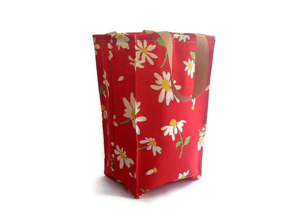 Reusable Vintage Fabric Lunch Bag- Red Floral