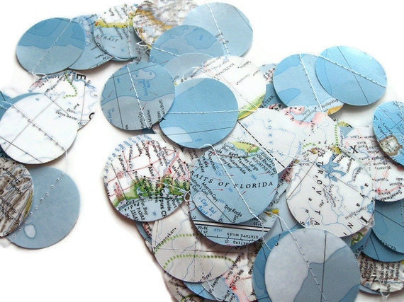 National Geographic Atlas Round Garland - Over 5 Yards Long - Paper Circle Decoration - Handmade Party Supplies