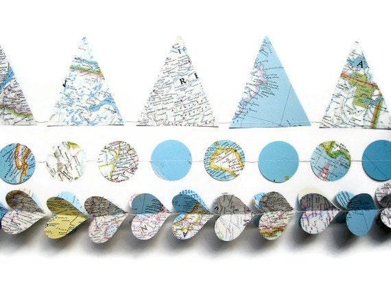 World Map Garland Assortment - Classroom Decorations - Handmade Party Supplies - Atlas Banners