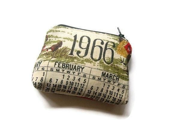 1966- Zipper Pouch- Repurposed Vintage Calendar Tea Towel