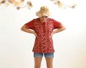 70s Boho Hippie Shirt  //  IKAT Top //  SIMPLY RED