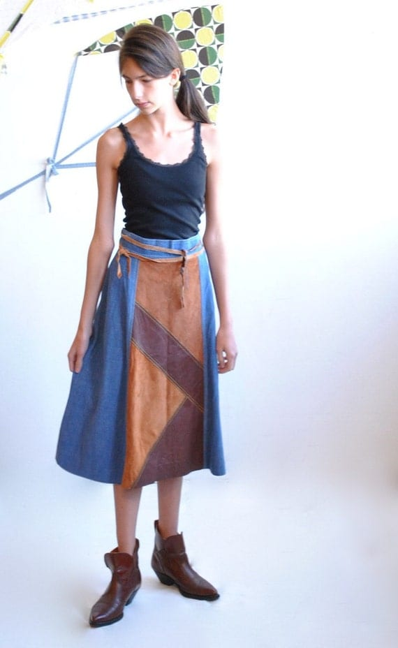 70s Denim Skirt  //  Vintage Leather Skirt  //  BOHO SKIRT