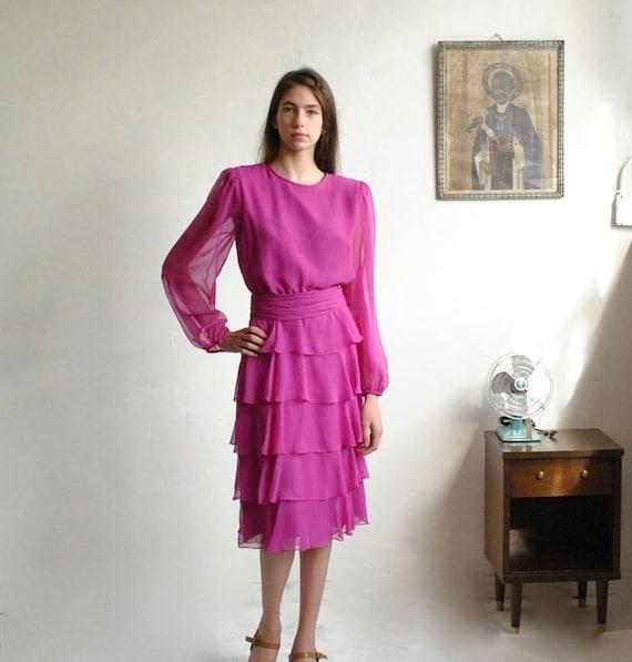 Sheer Dress  //  Chiffon Dress  //  FUSCHIA TANGO