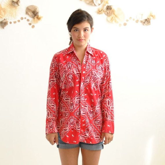 Bandana Print Shirt  //  70s Western Shirt  //  RED RODEO