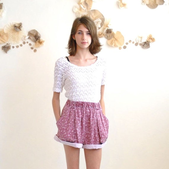 sale... Floral Shorts //  High Waisted Shorts  //  ROLLED and FADED